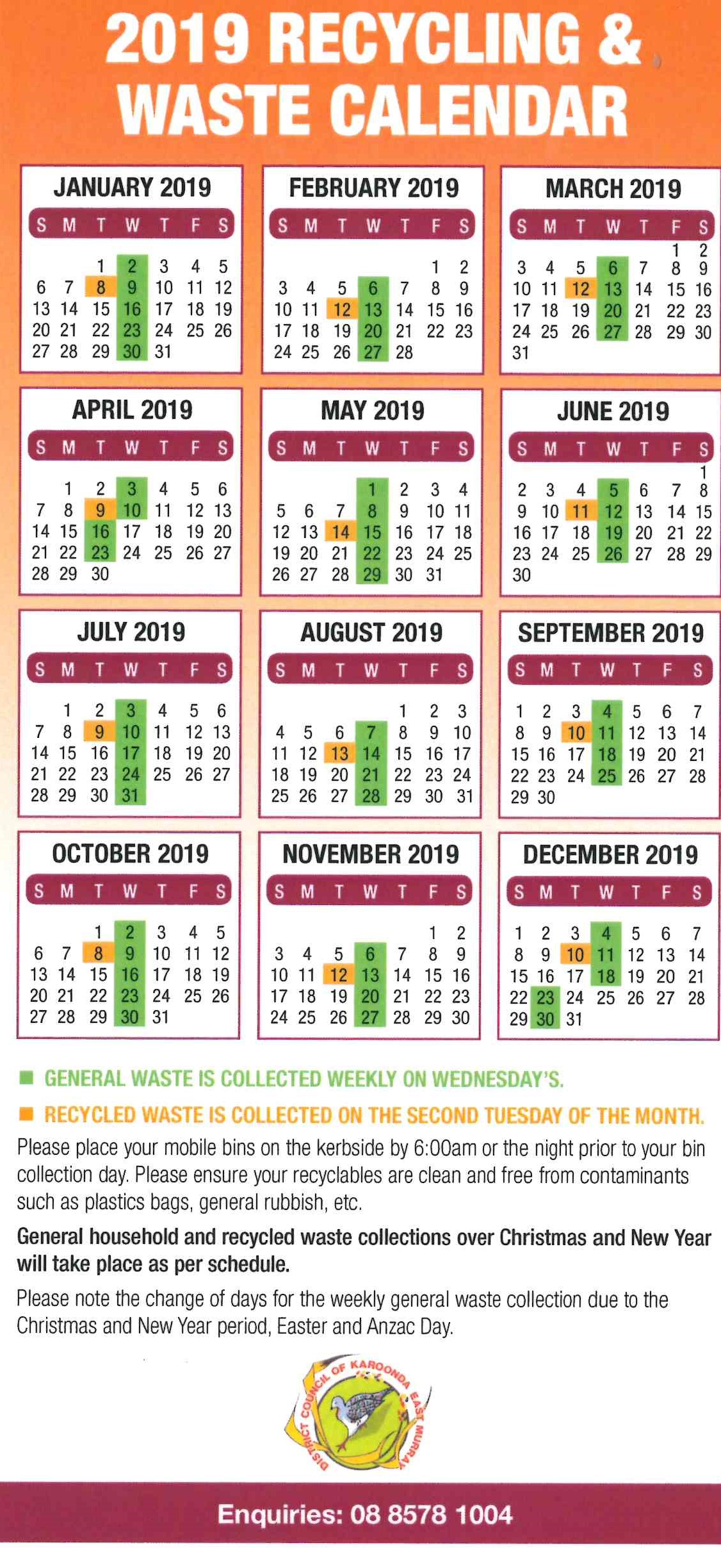 2019 Waste Collection Calendar